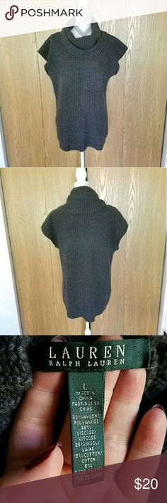 Ralph Lauren Oversized Cowl Neck Sweater! Charcoal colored oversized chunky cowl neck sweater.  Short oversized sleeves. Length is about 29 inches and armpit to armpit is about 20 inches. Great condition! Lauren Ralph Lauren Sweaters Cowl & Turtlenecks