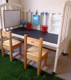 when your wee one outgrows their crib... turn it into a desk!