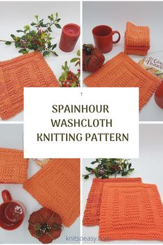 Spainhour washcloth knitting pattern has an amazing design that looks complicated. Only you will know how easy it was to knit using only knit & purl stitches and Knit So Easy's step by step pattern instructions. Knitted Washcloth Patterns, Knitted Washcloths, Dishcloth Knitting Patterns, Knit Dishcloth, Easy Knit Hat, Knitted Hats Kids, Knit Purl Stitches, Fall Knitting, Easy S