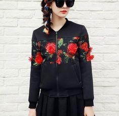 3D red flower bomber jacket for girls black jacket coat