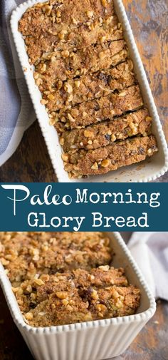 Youll love the moist and dense flavor of this Paleo Morning Glory Bread! A perfect breakfast or snack on the go packed with apples coconut carrots raisins and walnuts. This bread is grain-free refined sugar free and oh so delicious! Paleo Dessert, Healthy Dessert Recipes, Baking Recipes, Paleo Recipes, Budget Recipes, Healthy Baking, Bread Recipes, Delicious Desserts, Breakfast On The Go