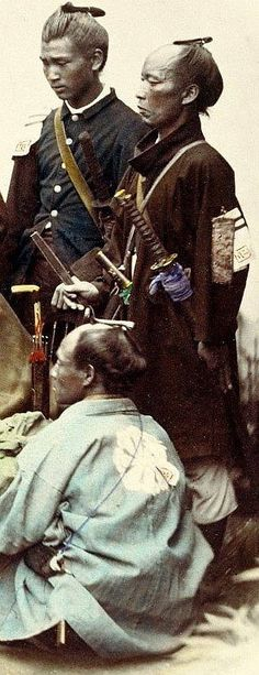 Boshin war era samurai, the one on the right has a sode jirushi (a badge worn on the shoulder-plate) on his shoulder and a shoulder carry sword belt. Japanese History, Asian History, Japanese Culture, Ronin Samurai, Samurai Armor, Japanese Warrior, Japanese Sword, Vintage Japanese, Japanese Art