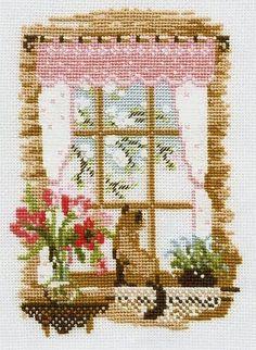 Hobby lavori femminili - ricamo - uncinetto - maglia  Schema punto croce -  Quattro stagioni con gatto alla finestra 28dfca164789