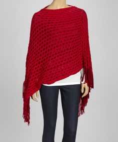 Red Mesh Crochet Fringe Poncho | Daily deals for moms, babies and kids
