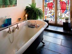 Image result for reclaimed bathrooms Article Design, Corner Bathtub, Stained Glass, Building A House, Bathrooms, Bridge, Google, Image, Bathroom