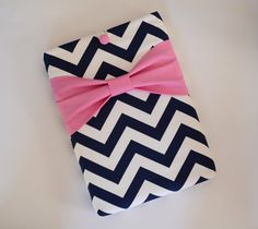 """Macbook Pro 13 Sleeve MAC Macbook 13"""" inch Laptop Computer Case Cover Navy & White Chevron with Pink Bow"""