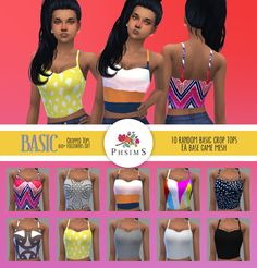 800+ FOLLOWERS GIFT!!!! Thank you, thank you, thank you all ♥BASIC cropped tops :)10 random recolors.EA mesh modified and recolored by me with Sims4Studio.Hope you like!DOWNLOAD