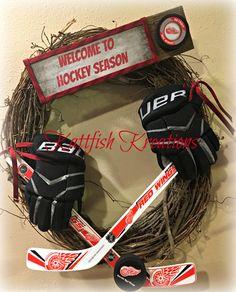 Custom Order Detroit Red Wings Hockey Wreath. SOLD