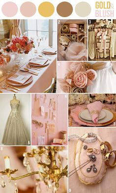 Gold and blush pink wedding colors, romantic vintage theme. http://vasemarket.com/wedding-and-party