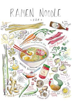 Ramen Noodle Bar Canvas Art Print by Amber Day Amber Day, Noodle Bar, Ramen Noodle, Ramen Bar, Recipe Drawing, Sketch Note, Food Journal, Food Drawing, Aesthetic Food