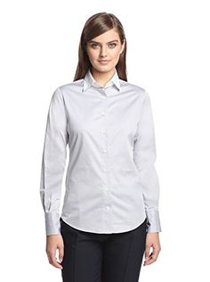 a64c30287576 Façonnable Women s Button-Up Shirt with Contrast Collar (Gris Clair)