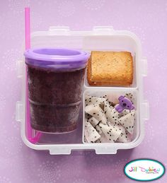 She had a frozen blueberry, apple, cherry smoothie that was nicely defrosted in her lunch bag by her break. She also had a container of sliced dragon fruit with a cute pick and a container with a sliced cereal bar.