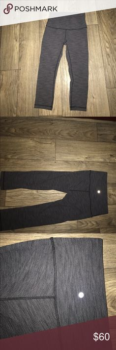 Lulu lemon cropped leggings Hello everyone!! these lulu pants are NOT sold!! I've only worn them a few times they are in great condition!! I'm living a healthy active lifestyle and i feel confident in my body as well.. let me help you Feel confident and healthy  everyday...message me 612-987-2023 lululemon athletica Pants Leggings