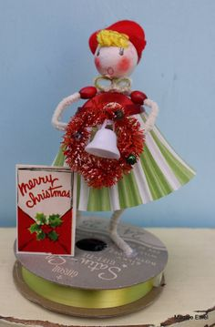 Vintage Style Spun Head Gal  Christmas Wreath by MagpieEthel