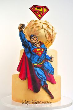Three tier golden cake featuring Superman hand painted with gel colors, edible markers and petal dust on gum paste and the Superjosh logo made of gum paste. Fondant Cake Designs, Fondant Cakes, Beautiful Cakes, Amazing Cakes, Hero Spiderman, Superman Cakes, Golden Cake, Fab Cakes, Petal Dust