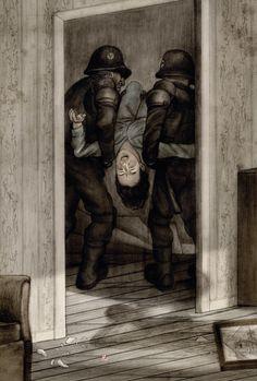 Jonathan Burton illustration for the Folio Society edition of Orwell's '1984'