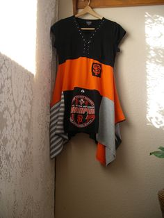 San Francisco Giants Lagenlook Tunic/ Upcycled Patchwork Cotton Tunic/Medium to Large by CycleOnStitches on Etsy