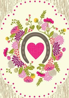 print by hillary bird. horshoe, heart, flowers