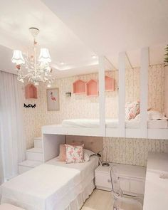 15 Cute Bedroom Ideas for Girls - Cool Bedroom Design Room Design Bedroom, Girl Bedroom Designs, Small Room Bedroom, Bedroom Decor, Bedroom Themes, Kid Bedrooms, Bedroom Furniture, Small Rooms, Wall Decor
