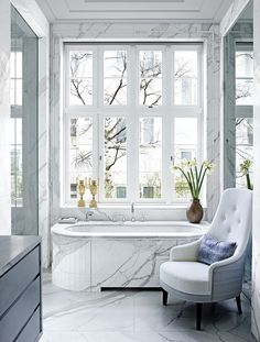 NgLp Designs shares Bathrooms We Love. ELLE Decor's luxury home, a London townhouse with interior design inspiration by Jean Louis Deniot Townhouse Interior, London Townhouse, London House, French Interior, Best Interior, Interior Design, Small Rooms, Small Spaces, Jean Louis Deniot
