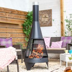 Contemporary Midnight Black Chimenea With Mesh Door - Chimnea, Small Outdoor Spaces, Real Fire, Patio Heater, Outdoor Settings, Outdoor Living, Colorado, Home Appliances, Haciendas