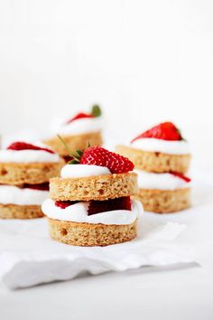 This is my favorite vegan strawberry shortcake recipe. It features tender vanilla cake, lightly sweetened fresh strawberries, and your favorite vegan whipped cream—store-bought or homemade. It's easy to assemble and a guaranteed crowd pleaser! #vegan Vegan Whipped Cream, Whipped Topping, Vegan Strawberry Shortcake, Milk And Vinegar, Cake Icing, Vegan Life, It's Easy, Vanilla Cake, Strawberries