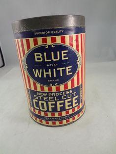 ebay- $125.00 VINTAGE BLUE & WHITE COFFEE TIN CAN ADVERTISING RARE COLLECTIBLE 101-R