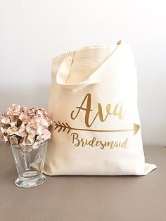 Bridesmaid Gift Tote Gold Arrow Bags By Gracefulgreetingco
