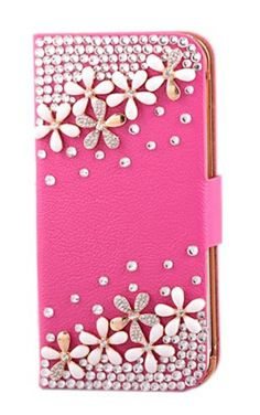 awesome Pretty Shining Crystal Rhinestone Diamond Flowers Bling Back Cover For iPhone 5 Rose Wallet Style Phone Case