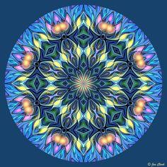 Blue Floral Mandala 4 by janclark.deviantart.com on @deviantART