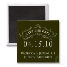 Calligraphic Flourish Save the Date Magnet magnet