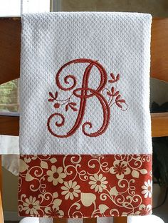 "Monogrammed Kitchen Towel, Brick Red Floral Monogrammed Towel Love this! But with an ""M"" instead!"