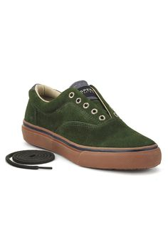 Sperry Topsider Striper Laceless CVO Slip-On Sneaker In Green Suede