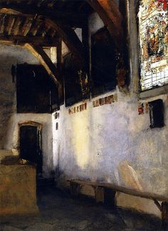 John Singer Sargent, Interior with Stained-Glass Window, c.1880