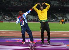 Mo Farrah does the Bolt and Usain Bolt does the Mobot