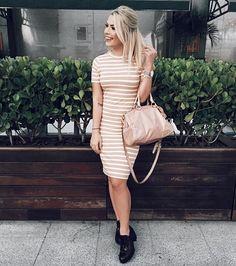 {White + Nude striped dress}  #ootd #LooksDaMama #lookoftheday #MamaCastilho #outfit