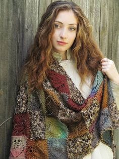 "Knit shawl ""Marshy woodlands"" (knitted shawl, handmade wrap, knitting wool shawl, knit patchwork, entrelac, domino knitting)"