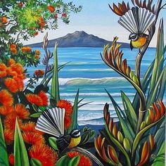 Check out Rangitoto View Canvas Print by Irina Velman at New Zealand Fine Prints Nz Art, Art For Art Sake, Art Maori, Art Quilling, Zealand Tattoo, New Zealand Art, Kiwiana, Bizarre, Bird Art