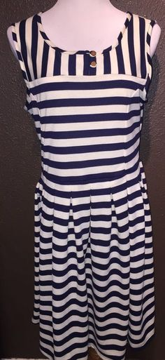 Anthropologie Dear Creatures Navy Off White Striped Pleated Dress L #DearCreatures