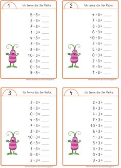 Lessons: Mini-party to train the rows of tables - Mathe Grundschule - Welcome Education 1st Grade Math Worksheets, 2nd Grade Math, Elementary Science, Science Classroom, Teaching Kids, Kids Learning, Math Multiplication, Math Addition, Math For Kids
