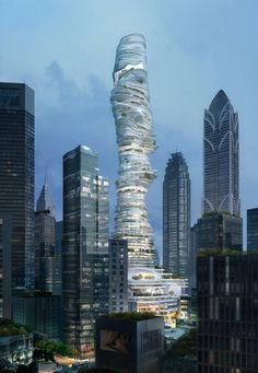 Impactante vista de un cielo de formas tenues que cubre El Bosque Urbano en la ciudad de Chongqing, China.