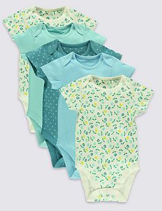 5 Pack Pure Cotton Baby Bodysuits | M&S