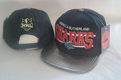 42b57dde460 NRL Sharks Navy Snapback Hats Brim Black Leather