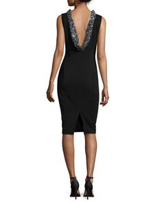 Black Sleeveless Beaded-Cowl-Back Dress, Badgley Mischka	 | Neiman Marcus