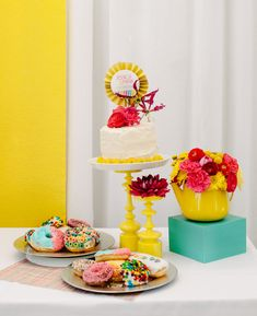 colorful dessert bar on article about 1950′S POP ART WEDDING INSPIRATION. Love the colors!