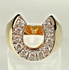 Gold Plated rings Western men women  horseshoe Cubic Zirconia  USA Seller #Unbranded #Statement