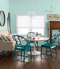 Emily Henderson for Country Living via Mix and Chic | Painted Dining Chairs