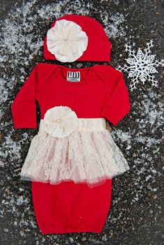 2bcb3f4d7 Faith and Love Lace Skirted Infant Gown and Flower Cap Set at Cassie's  Closet Newborn Christmas