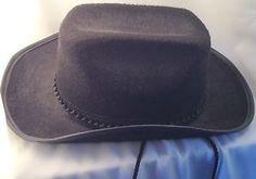 a104d9fde34 Cowboy Hat Size 7 With String Black Felt Western