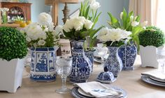 A collection of blue & white vases from HomeGoods make a beautiful classic tablescape.
